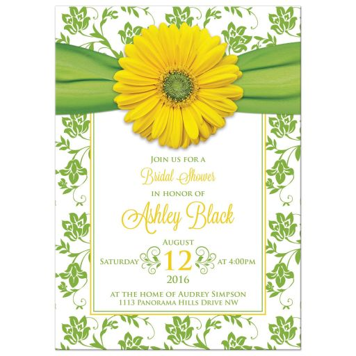 Yellow Daisy Green Floral Bridal Shower Invitation