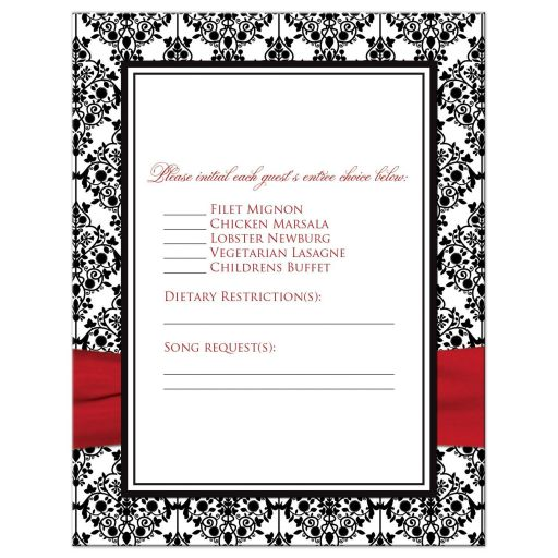 Best black and white damask pattern wedding response cards with red ribbon and crystal buckle brooch.