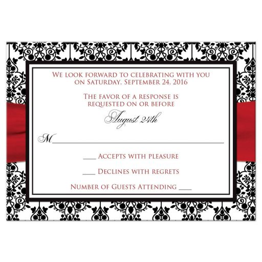 Great black and white damask pattern wedding response card with red ribbon and crystal buckle brooch.