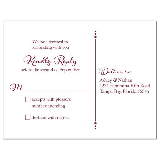 Sunflower burgundy ribbon damask floral fall wedding RSVP card back