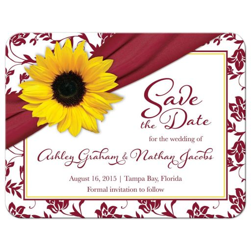 Sunflower burgundy ribbon damask floral fall wedding save the date postcard front