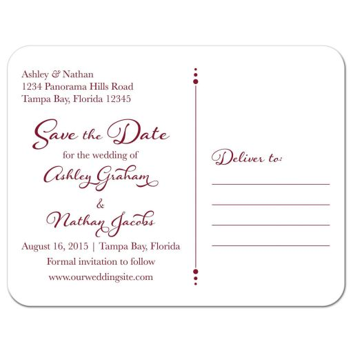 Sunflower burgundy ribbon damask floral fall wedding save the date postcard back