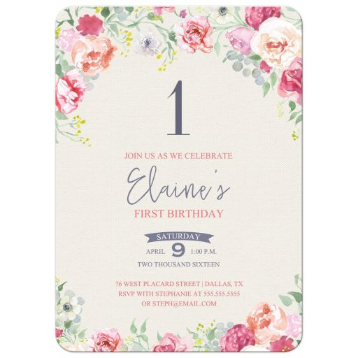 Watercolor floral first birthday party invitation