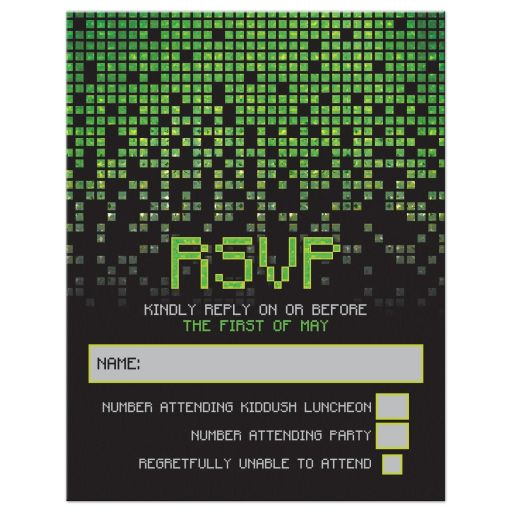 Video game pixel graphic green black Bar Mitzvah RSVP reply card front V2