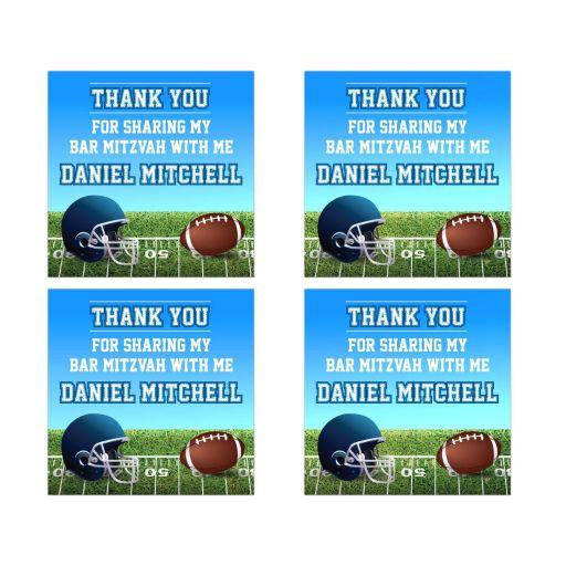 Football Stadium Gridiron Bar Mitzvah Thank You Stickers