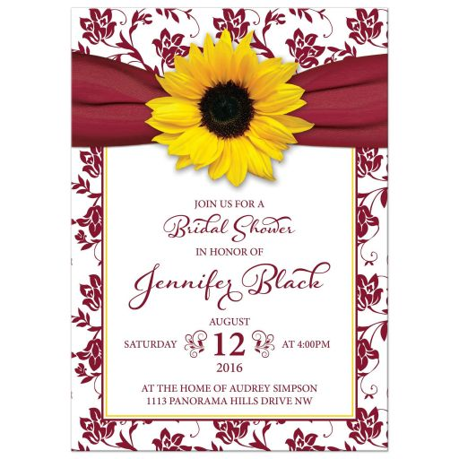 Sunflower burgundy ribbon damask floral fall bridal shower invitation front