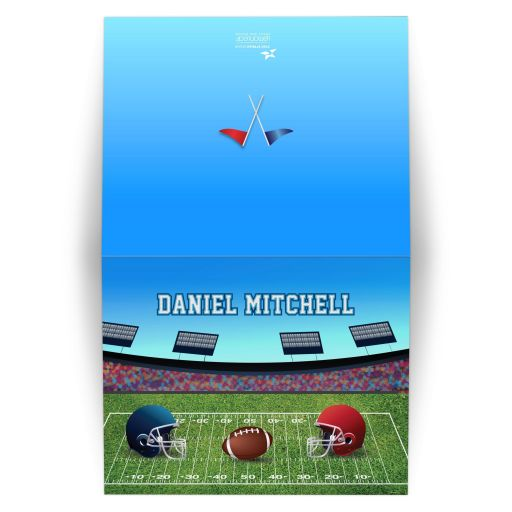 Football Stadium Gridiron Bar Mitzvah Thank You Card