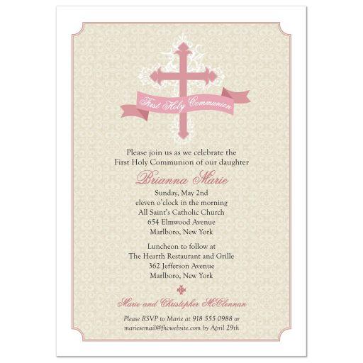 Cream Damask Pink Cross First Holy Communion Invitation