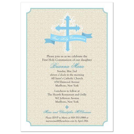 Cream Damask Blue Cross First Holy Communion Invitation