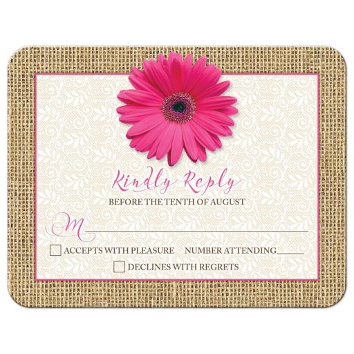 Rustic pink gerbera daisy, burlap, and lace wedding RSVP card front