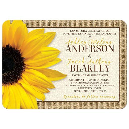 Rustic Yellow Sunflower Lace Burlap Wedding Invitation