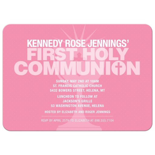 Bold Typography Pink Communion Cup First Holy Communion Invitation