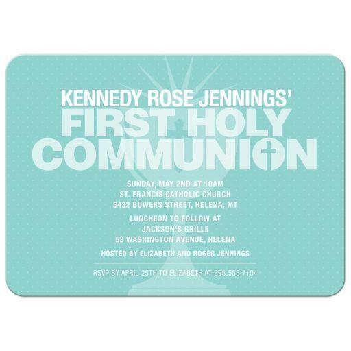Bold Typography Aqua Communion Cup First Holy Communion Invitation
