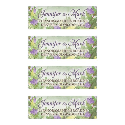 Purple and green woodland bouquet woodsy wedding address labels