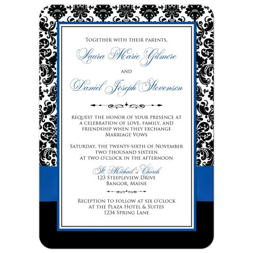 ​Best royal blue, black, and white damask photo template wedding invites with ribbon, glitter and a jewel joined hearts buckle brooch on it.