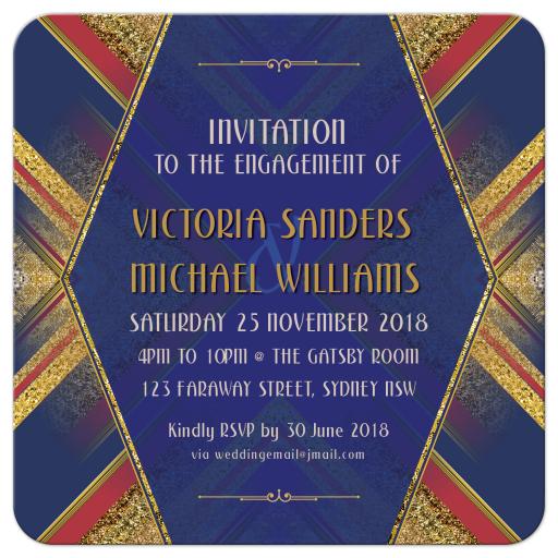 Red Blue Gold Deco Geometric Engagement Invitation
