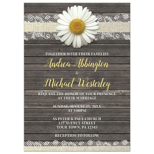 Wedding Invitations - Daisy Burlap and Lace Wood