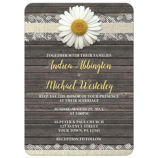 Wedding Invitations - Daisy Burlap and Lace Wood