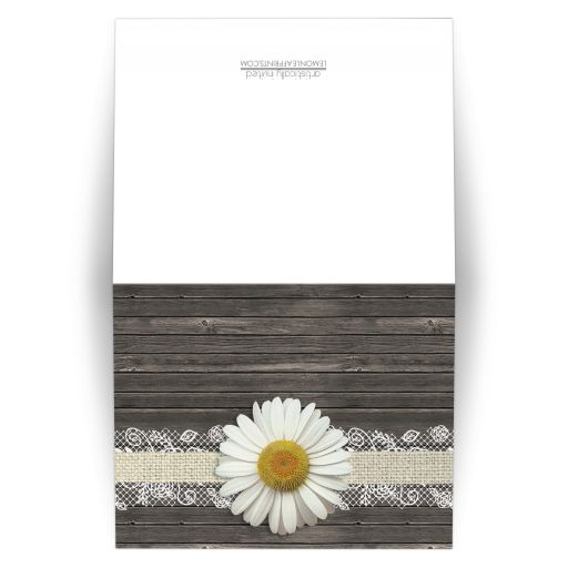 Note Cards - Daisy Burlap and Lace Wood