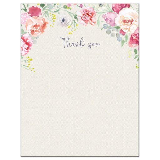 Pink and Purple Watercolor Flowers Flat Thank you Card