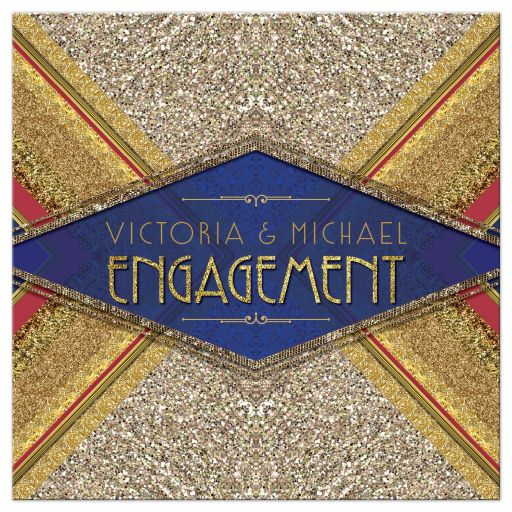 Gold Sparkle Glamour Red Royal Blue Engagement Invitation