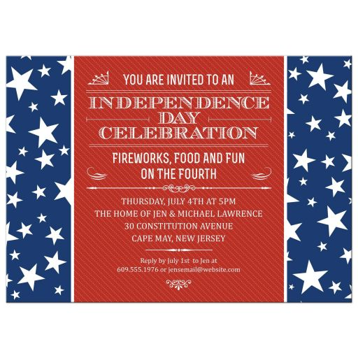 The Red White and Blue Fourth of July Patriotic Party Invitation