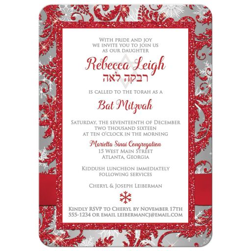 ​Best photo template red, silver, and white snowflakes and glitter damask pattern Bat Mitzvah party invites with ribbon, bow and jewel brooch.