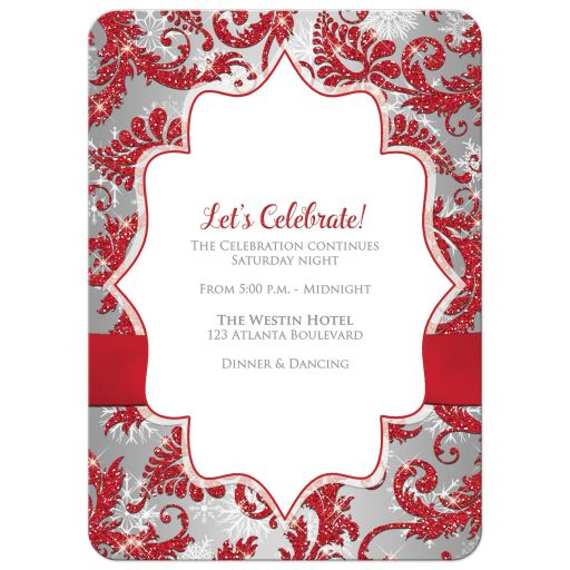 Great red, silver, and white snowflakes and glitter damask Bat Mitzvah party invites with ribbon, bow and jewel brooch.