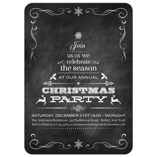 Black Chalkboard Tannenbaum Christmas Tree Holiday Party Invitation
