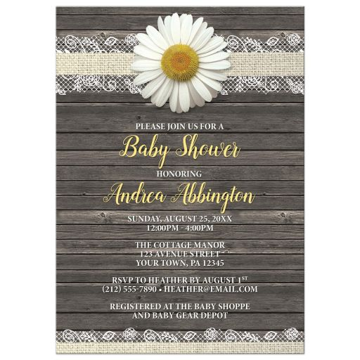 Baby Shower Invitations - Daisy Burlap and Lace Wood