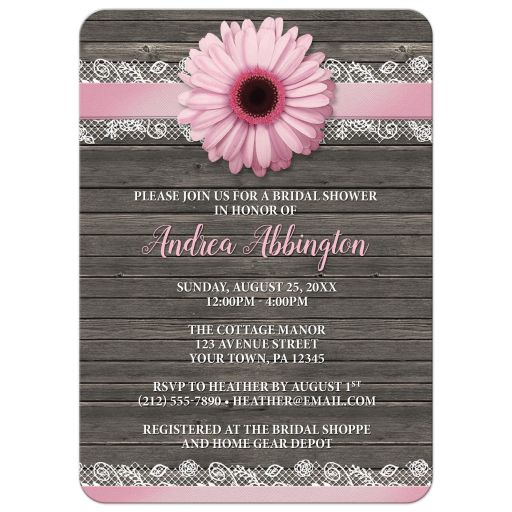 Bridal Shower Invitations - Pink Daisy Lace Rustic Wood