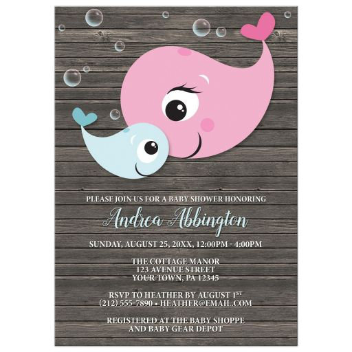 Baby Shower Invitations - Mommy Baby Whale Rustic Wood