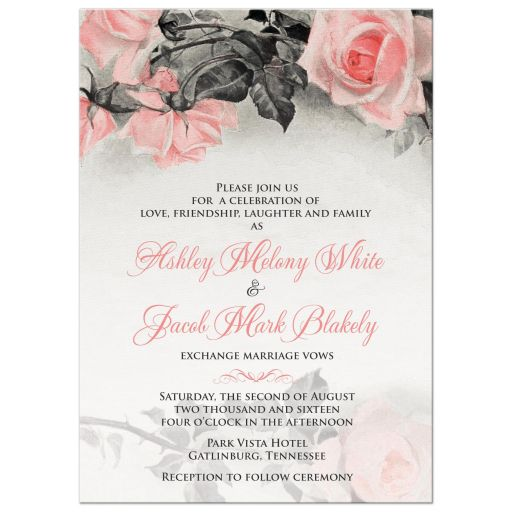 Wedding Invitation Vintage Blush Pink Grey Rose