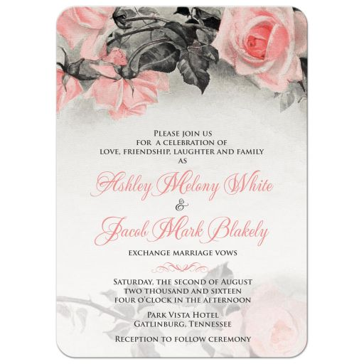 Vintage blush pink and gray rose wedding invitation