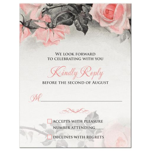 ​Vintage blush pink and gray rose wedding RSVP card