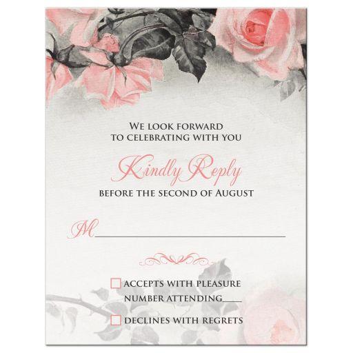 Blush Pink Gray Rose Wedding RSVP Card
