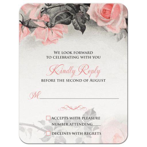 Vintage blush pink and gray rose wedding RSVP card