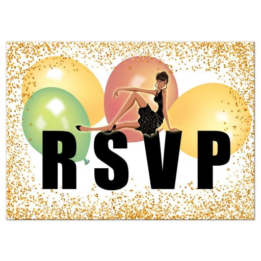 Elegant Gold Glitter and Balloons Quinceanera Party Response Card
