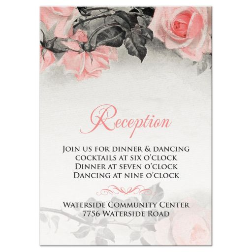 Vintage blush pink and gray rose wedding reception card