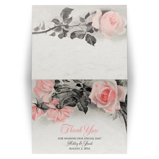 Wedding Thank You Card Vintage Blush Pink Grey Rose