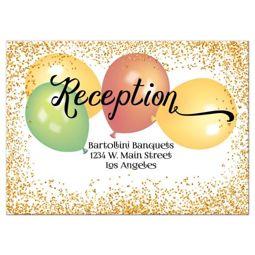 Elegant Gold Glitter and Balloons Quinceanera Party Reception Card
