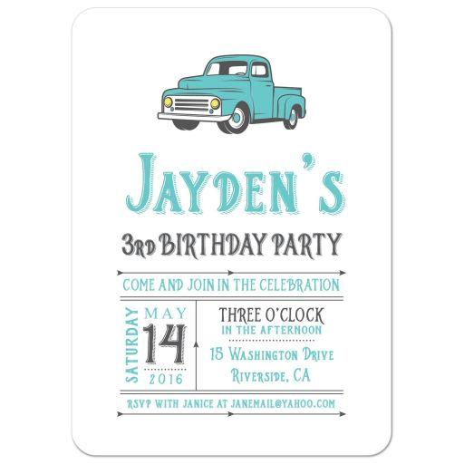 Vintage truck birthday party invitation