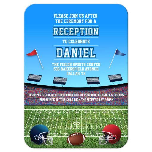 Football Stadium Gridiron Bar Mitzvah Reception Invitation