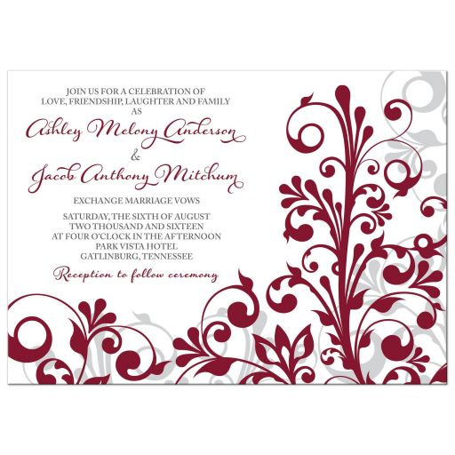 Burgundy, gray and white abstract floral wedding invitation front