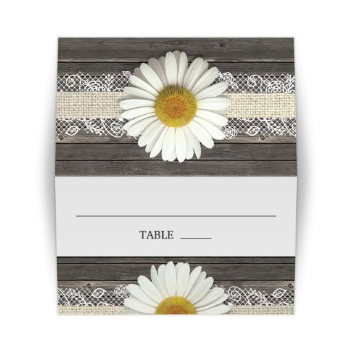 Place Cards - Daisy Burlap and Lace Wood