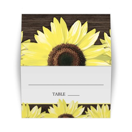 Place Cards - Rustic Sunflower and Wood