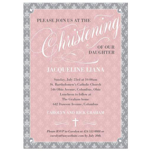 Pink Leafy Damask Script Baptism Christening Invitation