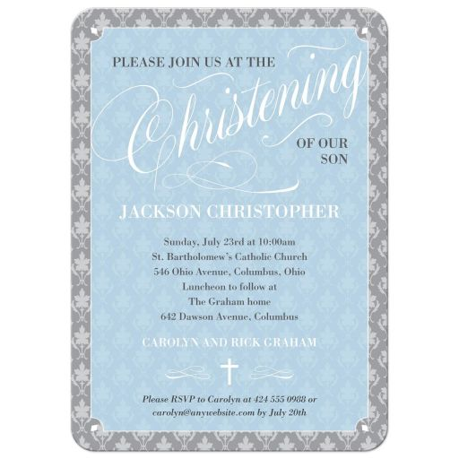 Blue Leafy Damask Script Baptism Christening Invitation
