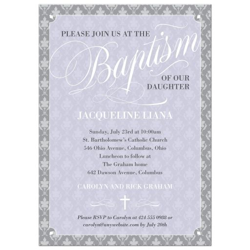 Purple Leafy Damask Script Baptism Christening Invitation