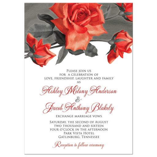 Vintage red rose wedding invitation